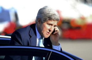 Kerry answering phone