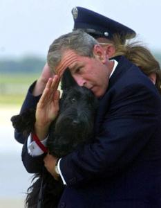 W. Bush dog salute