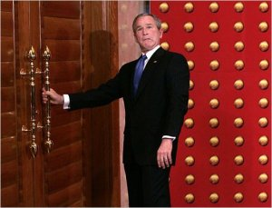 W. Bush wrong door asshole
