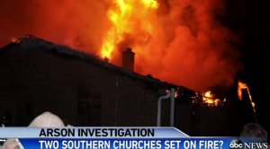 Church on fire at nigh