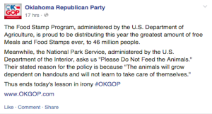 Republican Facebook post of hate