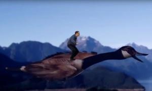 Wyatt riding a goose