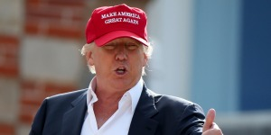 Trump with stupid hat