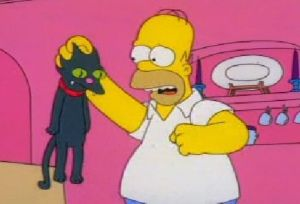 Homer punching a cat