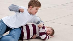Bullying idiot punching kid