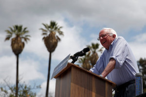 U.S. Democratic presidential candidate Bernie Sanders speaks in East Los Angeles