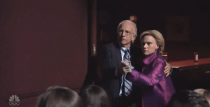 hillary-clinton-and-bernie-sanders-share-a-beer-snl-larry-david-kate-mckinnon-dance-tango