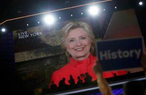 Hillary accepts via satlitte