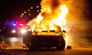 Car on fire badly