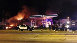 Gas station up in flames