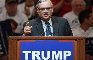 LAS VEGAS, NV - FEBRUARY 22: Maricopa County, Arizona Sheriff Joe Arpaio speaks during a rally for Republican presidential candidate Donald Trump at the South Point Hotel & Casino on February 22, 2016 in Las Vegas, Nevada. Trump is campaigning in Nevada for the Republican presidential nomination ahead of the state's Feb. 23 Republican caucuses. (Photo by Ethan Miller/Getty Images)