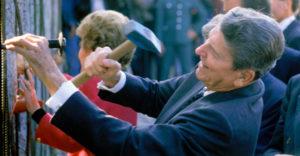 Reagan tearing down the wall
