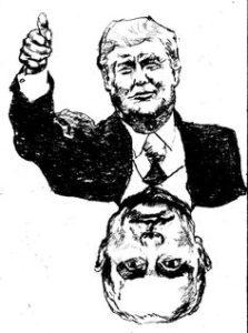 Trump becomes Putin cartoon